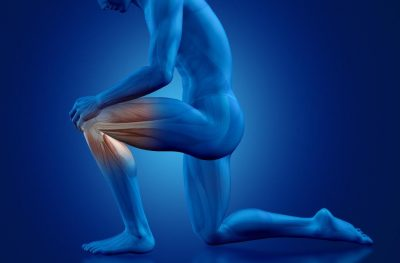 3D male figure holding knee